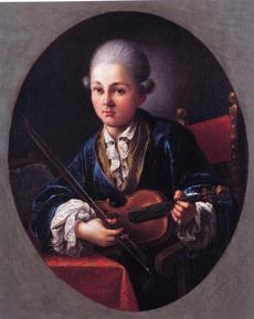 A portrait of Mozart with this violin, traveling here from Salzburg for the Boston Early Music Festival.
