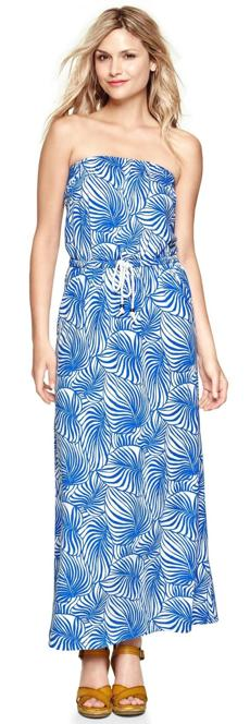 Fern print strapless maxi dress, $74.95 at Gap, Northshore Mall, Peabody, 978-531-0229, and other locations, gap.com