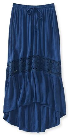 Horizontal crochet maxi skirt, $24.75 at Aeropostale, CambridgeSide Galleria, 617-225-2455, and other locations, areopostale.com