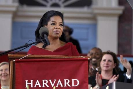 Winfrey was applauded as she spoke during the commencement ceremonies.