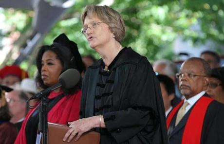 Harvard President Drew Faust readied for a moment of slience.
