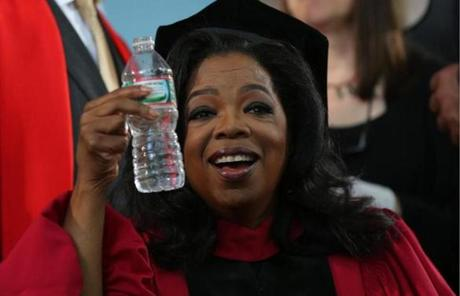 Winfrey held up a bottle of water. Temperatures Thursday were expected to climb into the 90s.