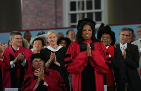 She received an honorary degree before delivering the commencement address in the afternoon.