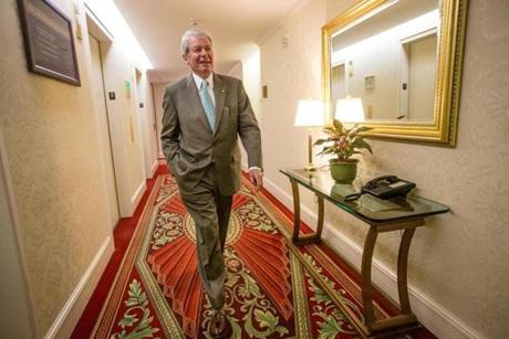 Denis walks through the halls at the Langham Boston, where he served as general manager until his retirement July 1.