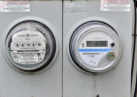 Smart meters like the one on the right use electromagnetic signals to send data to utilities as often as every 15 minutes.