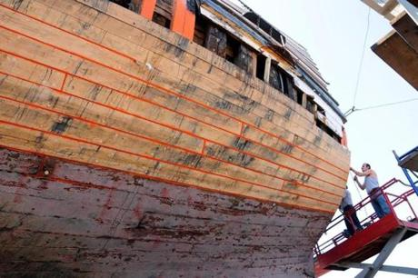 John Tarvers replaced planks on the Mayflower ll stern. The ship needs white oak timber to finish the restoration project.