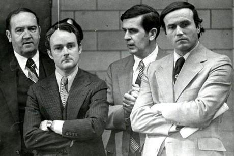 Former FBI supervisor John Morris (second from left) admitted to taking $7,000 in bribes from Bulger and Flemmi and leaking them information.