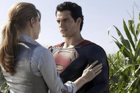 "Cavill with Amy Adams (as Lois Lane) in ""Man of Steel."""