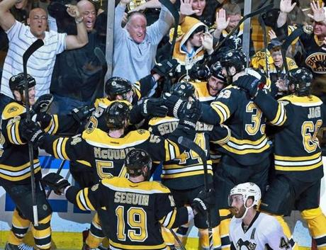 After the game, the cheering was the for the 2-1 win that left the Bruins one win away from the Stanley Cup Finals.