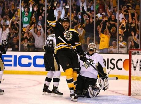 Milan Lucic celebrated Krejci's goal, which came 1:42 into the game.