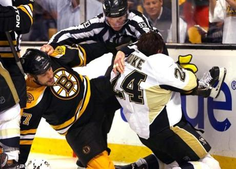 The game was chippy at times, with Lucic and Matt Cooke battling in the first period here.