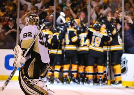 That led to a lonely skate off the ice for Vokoun as the Bruins celebrated.