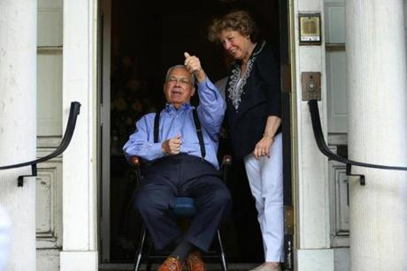 Mayor Thomas M. Menino viewed the parade from the entrance of the Parkman House with his wife, Angela.