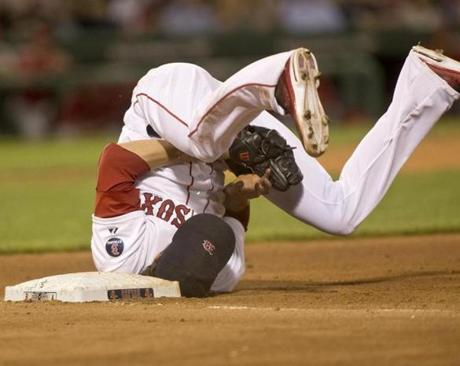 Boston Red Sox pitcher Clay Buchholz landed upside down after tagging out Anaheim Angels batter Alberto Callaspo at first base at Fenway Park.