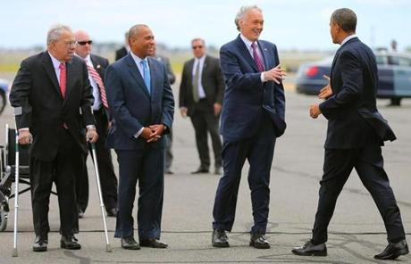 Mayor Menino, Governor Patrick, and Markey greeted President Obama upon his arrival at Logan Airport.