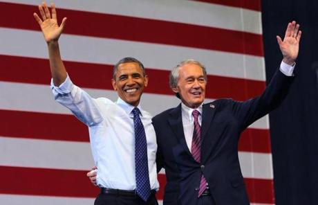 President Obama appeared at a campaign rally in Boston for US Senate candidate Edward Markey on Wednesday.