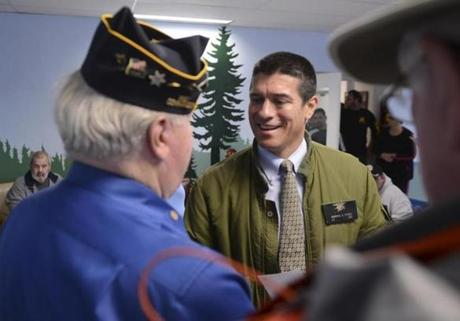 GOP Senate candidate Gabriel E. Gomez campaigned at the Soldier's Home in Chelsea, where he ripped remarks on rape made by US Representative Trent Franks, a Republican.