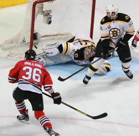 Chicago's Dave Bolland beat Rask in the third period to narrow the Bruins' lead to 3-2.