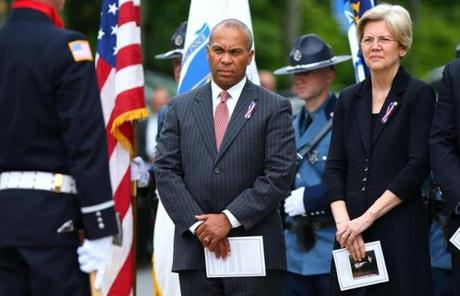 Governor Deval Patrick and US Senator Elizabeth Warren  attended the service.