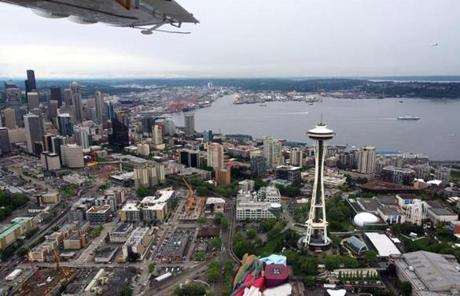 A tour by air allows for spectacular views of Seattle's iconic landmarks.