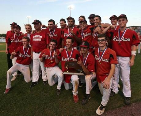 Hingham players posed after winning Division 2