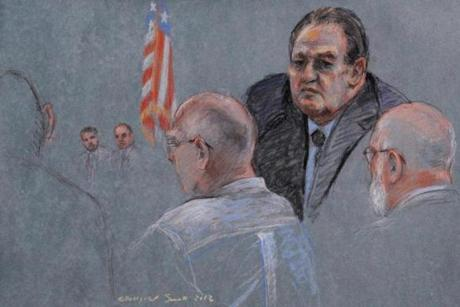 A courtroom sketch (from left) depicts Whitey Bulger, witness John Martorano, and defense attorney J.W. Carney.