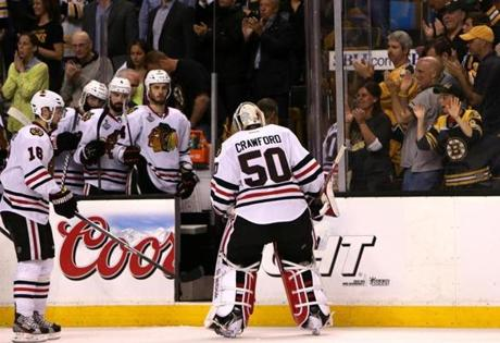 Crawford and the Blackhawks exited the ice facing a 2-1 series deficit.