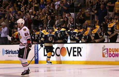 The goal by Paille, collecting congratulations from his teammates, marked the second straight game in which he scored.