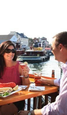 Waterfront dining in Portsmouth, N.H., moves outdoors in summer.