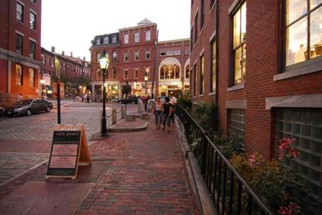 Old Port historic center in Portland, Maine, has brick alleys, cobblestone streets, and 19th-century buildings, all  on the foundation of the city's success as a seaport.