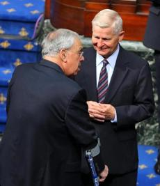 Mayor Thomas Menino talked with William Bulger during a service for former Governor Paul Cellucci on June 13.