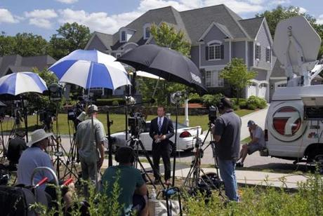 Crowds of reporters staked out the area near Hernandez's home Thursday.
