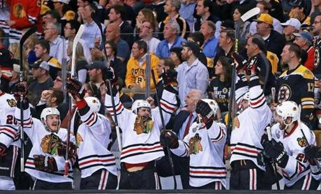 The goal set off a wild celebration for the Blackhawks.