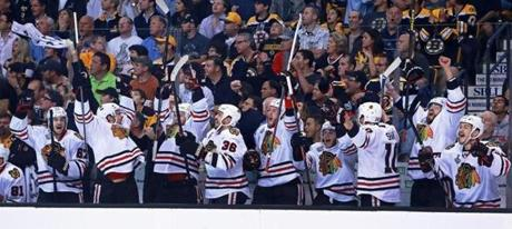 That set off a celebration on the Blackhawks bench, after the team was shut out in Game 3.