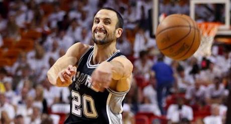 The Spurs' Manu Ginobili passed the ball at AmericanAirlines Arena in Miami.