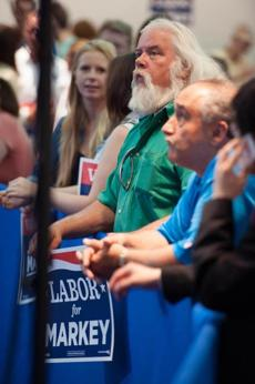 A member of the labor movement attended the rally at the Ironworkers Local 7 Hall on Old Colony Avenue.