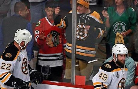 Shawn Thornton banged on the glass as he acknowledged a Boston fan in the stands during pregame warmups.
