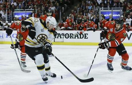 Brad Marchand controlled the puck against defenseman Niklas Hjalmarsson in the first period.