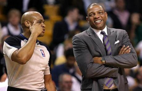 Celtics head coach Doc Rivers (right) will leave Boston to join the Clippers, if the league approves the deal.