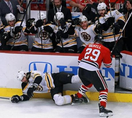 From the Bruins bench, Shawn Thornton reacted as Chicago's Bryan Bickell slammed Zdeno Chara to the ice from behind during Game 5 of the Stanley Cup Finals at the United Center.