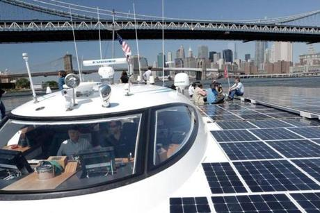The MS Tûranor PlanetSolar docked in New York on Thursday before making its way to Boston.