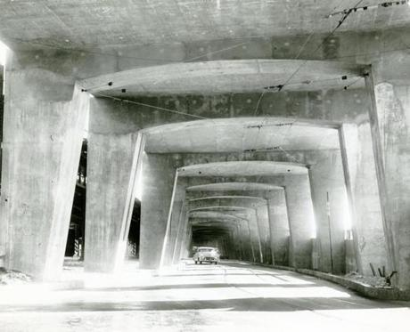 January 1, 1953:  This mass of concrete arches was built to hold up the high level roadway that led to Somerville.