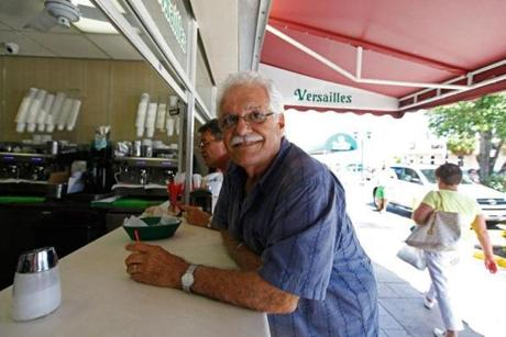 Jorge Diaz, at a Miami cafe. Many people in West Miami say they have long lived in the country without learning English.