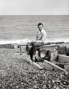 Benjamin Britten on Aldeburgh Beach in England in 1959.