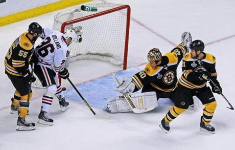 Then Chicago's Dave Bolland, left, scored the stunning Cup-clinching goal just 17 seconds later.