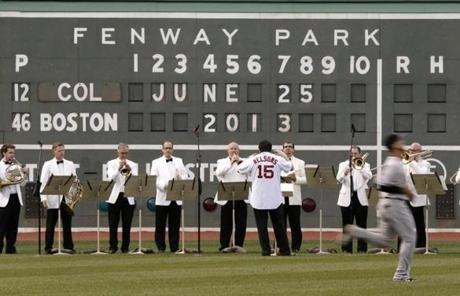 Before the Red Sox -Colorado Rockies game at Fenway Park, Nelsons said he was nervous about throwing the first pitch.
