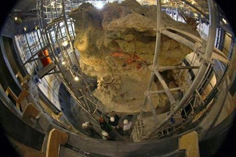 The New England Aquarium's giant fish tank, seen looking down, was emptied for reconstruction, which began last fall.