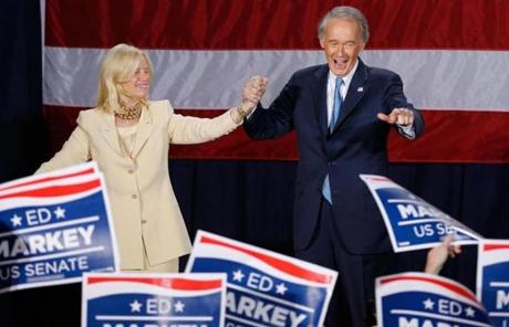 Democrat Edward Markey and his wife, Susan Blumenthal, thanked supporters Tuesday night at the Park Plaza Hotel.