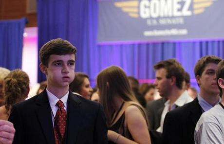 Ned Lipsett, 16, of Hingham reacted as he watched the returns at Gomez's party at the Seaport Hotel in Boston.