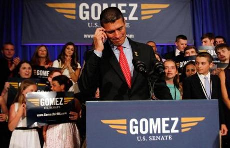 GOP  candidate Gabriel Gomez gave his concession speech at the Seaport Hotel in Boston.